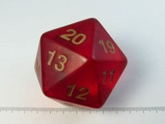 55mm 20-zijdig spindown, transparant rood