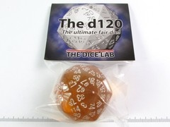The Dice Lab 120-zijdig, Transparant Amber