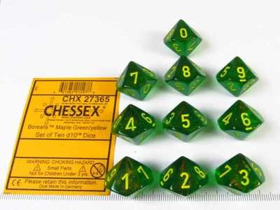 Set 10 10-zijdig, Chessex Borealis Maple Green w/yellow