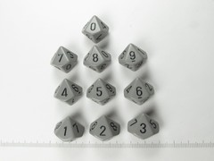 Set 10 10-zijdig, Chessex Opaque Grey w/black