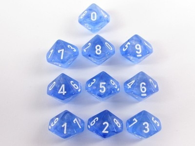 Set of 10 10-sided, Borealis Sky Blue w/white