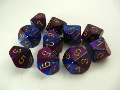 Set 10 10-zijdig, Gemini blue-purple w/gold