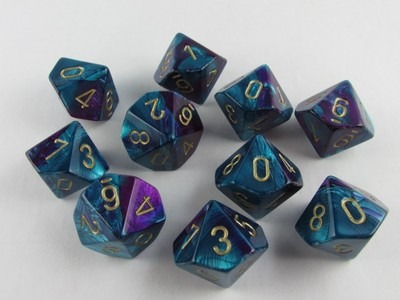 Set 10 10-zijdig, Gemini purple-teal w/gold