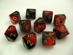 Set 10 10-zijdig, Gemini red-black w/gold