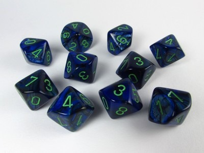 Set of 10 10-sided, Lustrous w dark blue / green