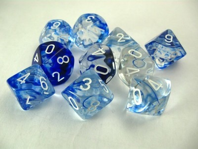 Set 10 10-zijdig, Nebula dark blue w/white