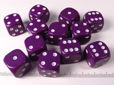 Set 12 6-sided, 16mm, purple