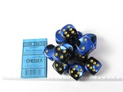 Set 12 st. 6-zijdig, 16mm Gemini Black-Blue w/gold