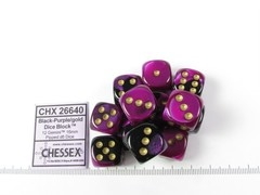 Set 12 st. 6-zijdig, 16mm Gemini Black-Purple w/gold