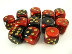 Set 12 st. 6-zijdig, 16mm Gemini red-black w/gold