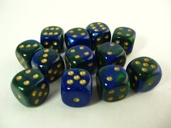 Set 12 st. 6-zijdig, 16mm Gemini blue-green w/gold