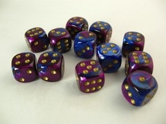 Set 12 st. 6-zijdig, 16mm Gemini blue-purple w/gold