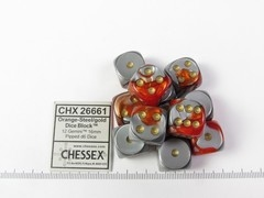 Set 12 st. 6-zijdig, 16mm Gemini Orange-Steel w/white