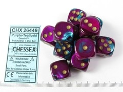Set 12 st. 6-zijdig, 16mm Gemini Purple-Teal w/gold