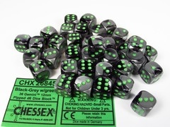 Set 36 st. 6-zijdig 12mm, Gemini black-grey w/green