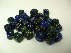 Set 36 6-zijdig, 12mm Gemini blue-green w/gold