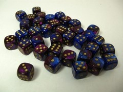 Set 36 6-zijdig, 12mm Gemini blue-purple w/gold