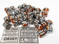 Set 36 st. 6-zijdig 12mm, Gemini copper-steel w/white