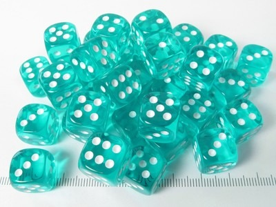 Set 36 6-sided, 12mm transparent teal