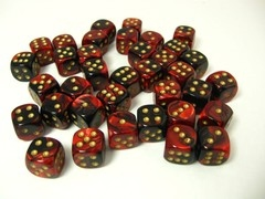 Set 36 st. 6-zijdig, 12mm Gemini red-black w/gold