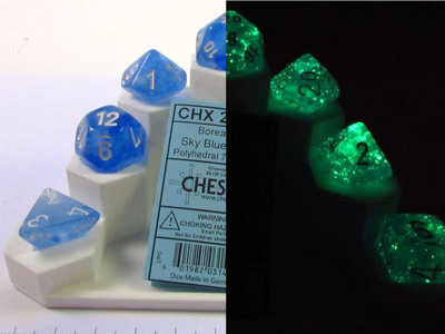 Borealis Luminary polydice set - Sky Blue w/white