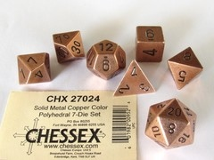 Chessex Solid Metal Copper Color polydice set
