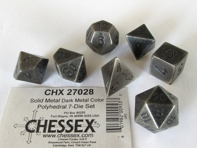 Chessex Solid Metal Dark Metal Color polydice set