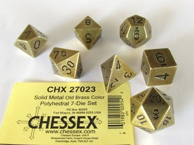 Chessex Solid Metal Old Brass Color polydice set