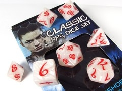 Classic polydice - Pearl w/red