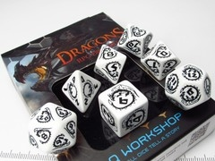 Dragons polydice set, wit met zwart