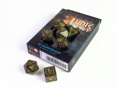 Runic polydice set, bottle green w/gold