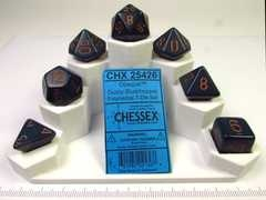 Chessex polydice set, Opaque dusty blue w/copper