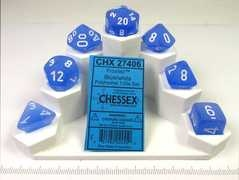Set 7 polydice, Frosted blue w/white
