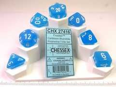 Set 7 polydice, Frosted Caribbean blue w/white