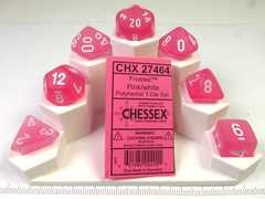 Set 7 polydice, Frosted pink w/white
