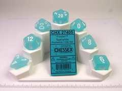 Set 7 polydice, Frosted teal w/white
