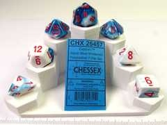 Set 7 polydice, Gemini Astral Blue-white w/red