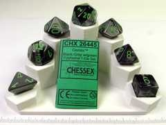Set 7 polydice, Gemini black-grey w/green