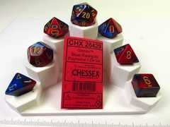 Set 7 polydice, Gemini blue-red w/gold