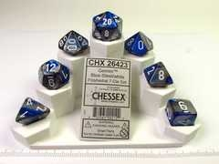 Set 7 polydice, Gemini blue-steel w/white