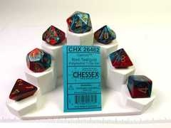 Set 7 polydice, Gemini red-teal w/gold