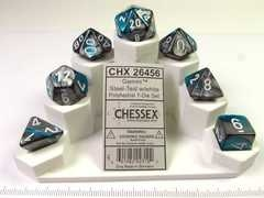 Set 7 polydice, Gemini steel-teal w/white