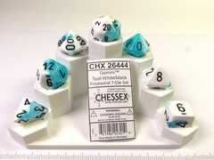 Set 7 polydice, Gemini white-teal w/black