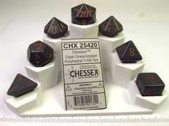 Chessex polydice set, Opaque dark grey w/copper