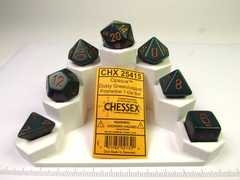 Chessex polydice set, Opaque dusty green w/copper