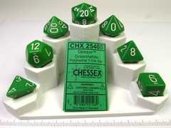 Chessex polydice set, Opaque Green w/white