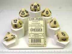 Chessex polydice set, Opaque Ivory w/black