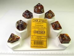 Set 7 polydice, Lustrous gold w/silver