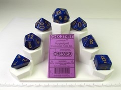 Set 7 polydice, Lustrous purple w/gold