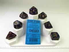 Set 7 polydice, Lustrous shadow w/gold